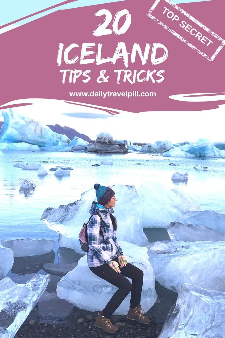 Girl standing on ice at Jokulsarlon Lagoon Iceland