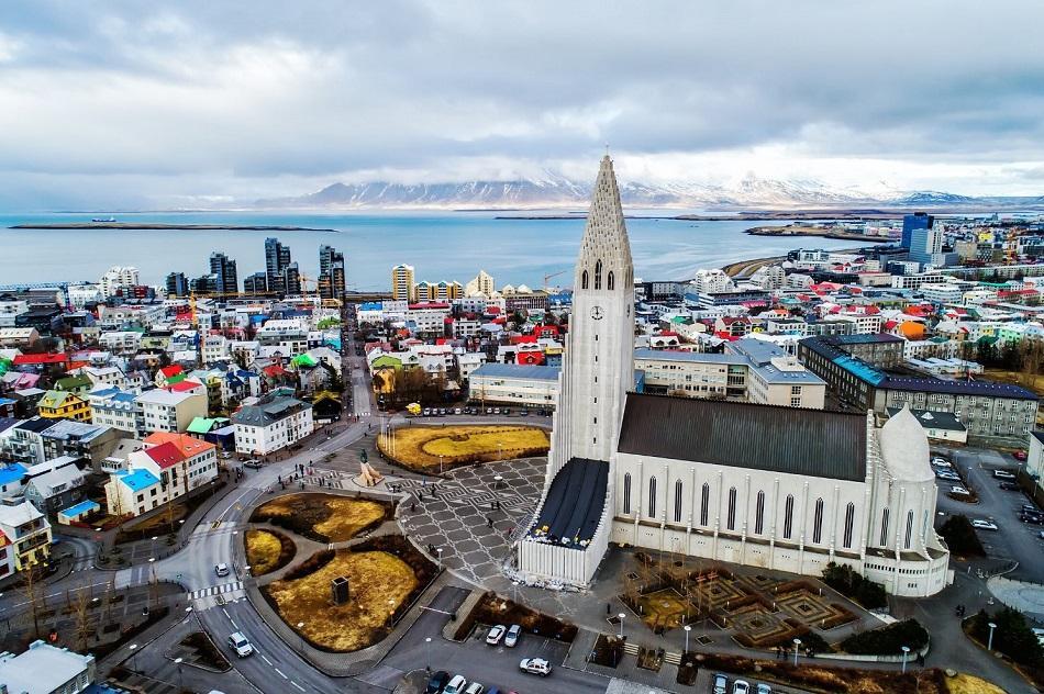 Reykjavik drone view of church