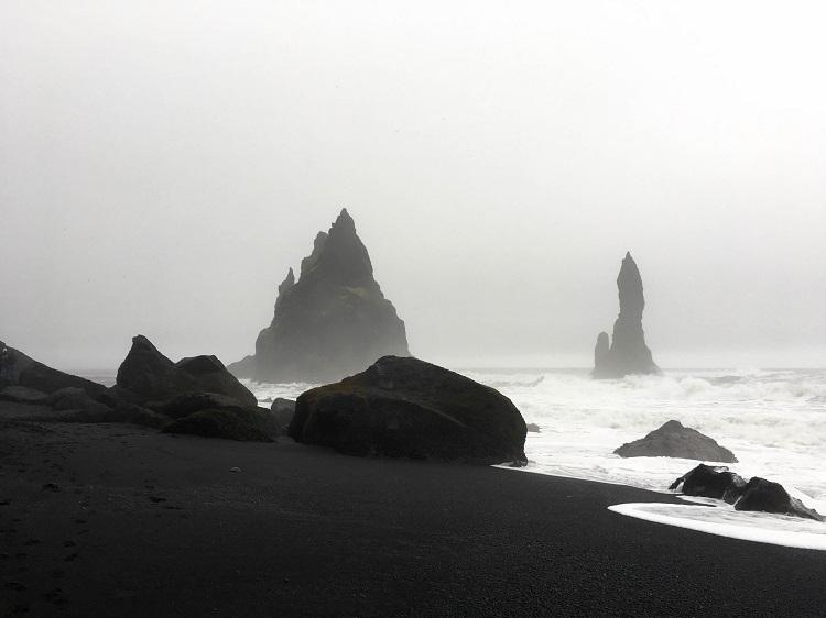 Empty Black Sand Beach Vik Iceland during winter