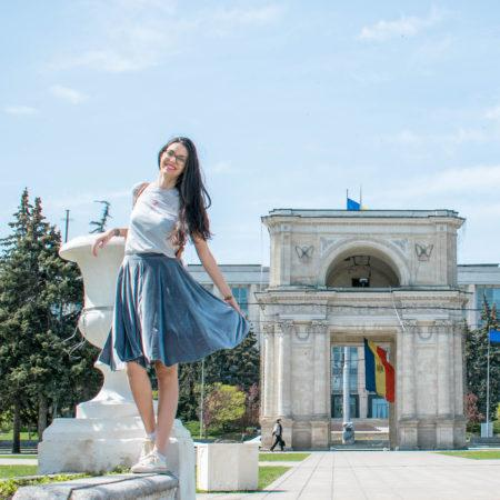 Girl in skirt in Chisinau