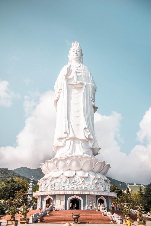 Linh Ung Pagoda statue front view in Da Nang, Vietnam