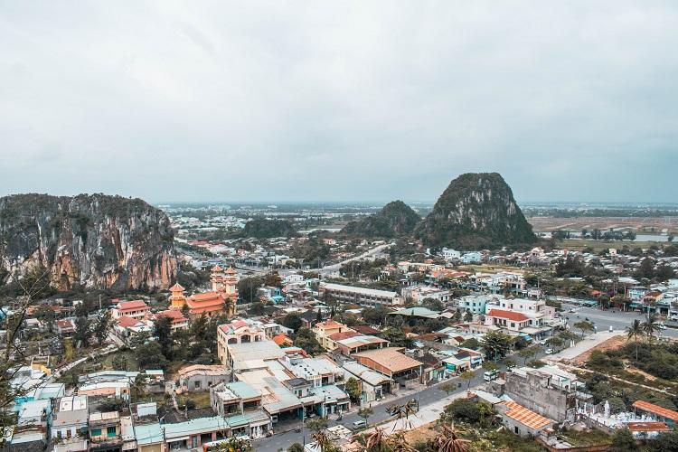 Panoramic view from the top of Marble Mountains in Da Nang, Vietnam