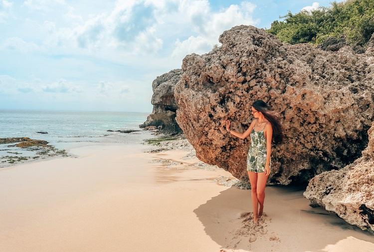 Girl at Pantai Tegal Wangi Beach Bali