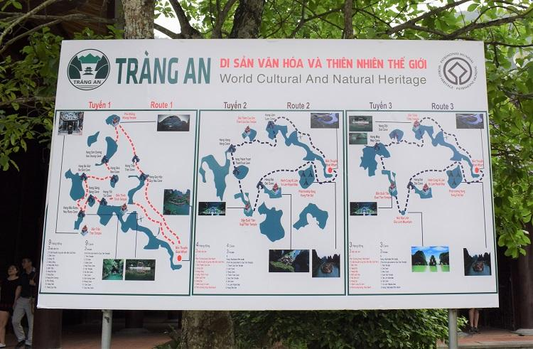Trang An boat routes map