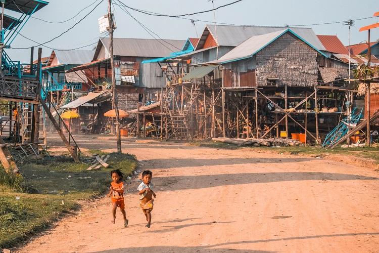 Kampong Phluk floating village Cambodia during dry season