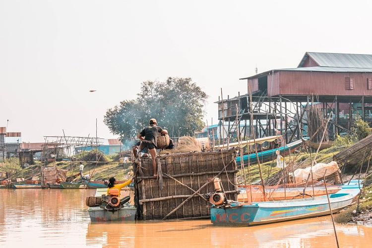 Daily life in Kampong Phluk dry season floating village Cambodia