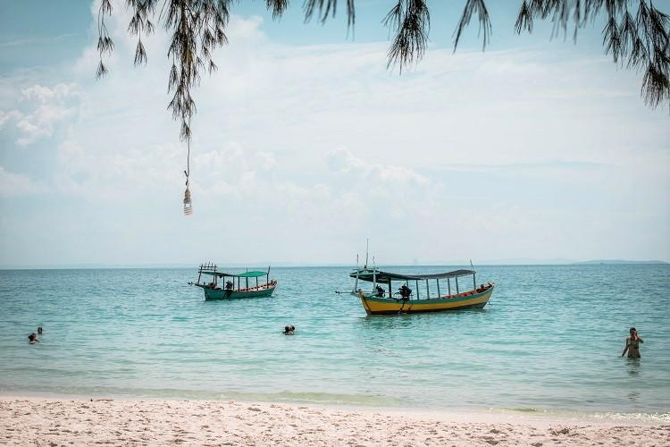 Boats on Koh Touch Beach Koh Rong Cambodia