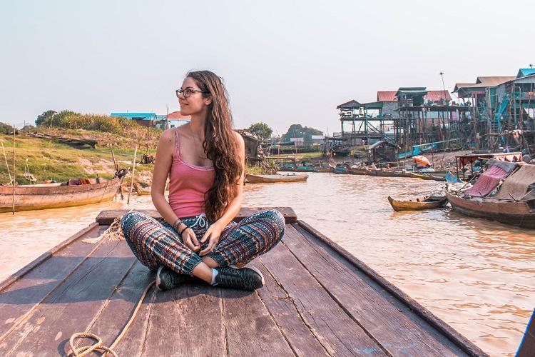tourist in Kampong Phluk Cambodia during dry season