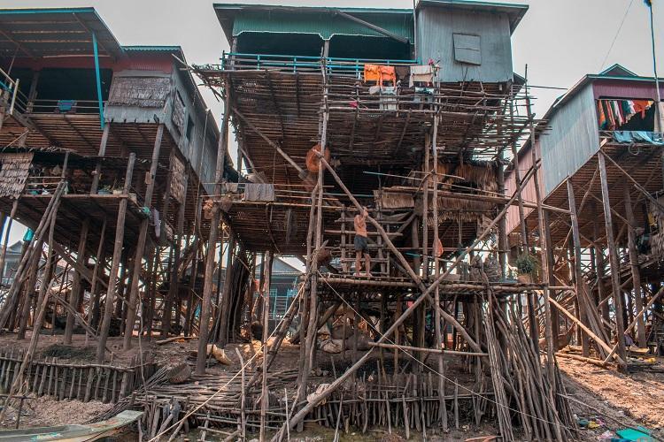 Kampong Phluk dry season wooden stilts houses