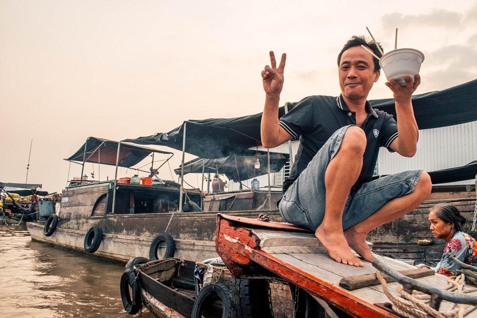 Cai Rang floating market at Mekong Delta Vietnam