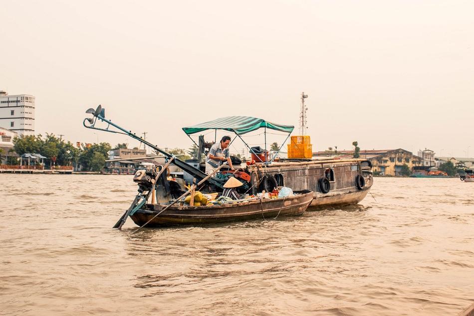 Boat selling fruits at Mekong Delta Cai Rang floating market