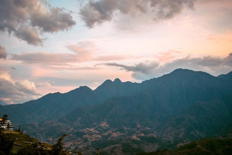 Fansipan Mountain at sunset in Sapa, Vietnam