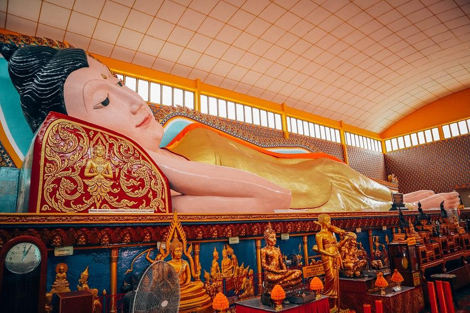 Wat Chaiyamangalaran Thai Buddhist Temple reclining Buddha in George Town, Penang