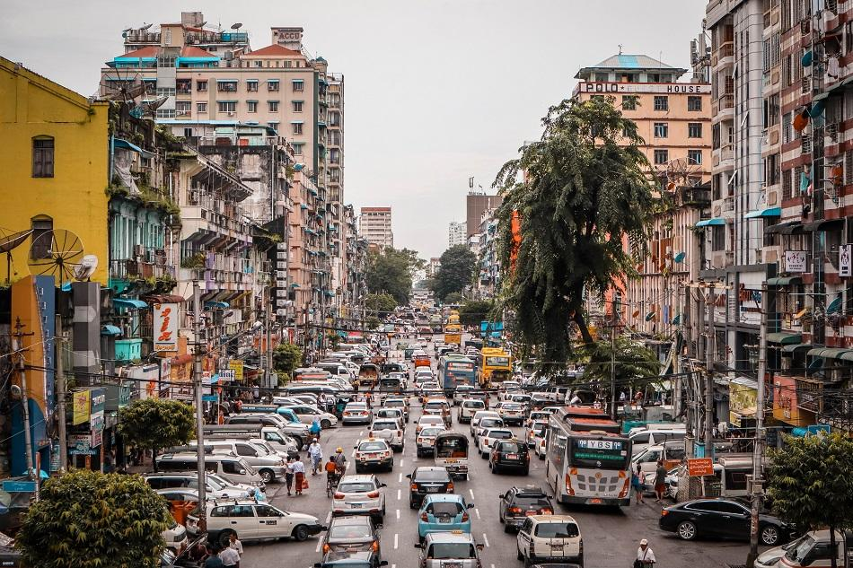 Yangon city traffic