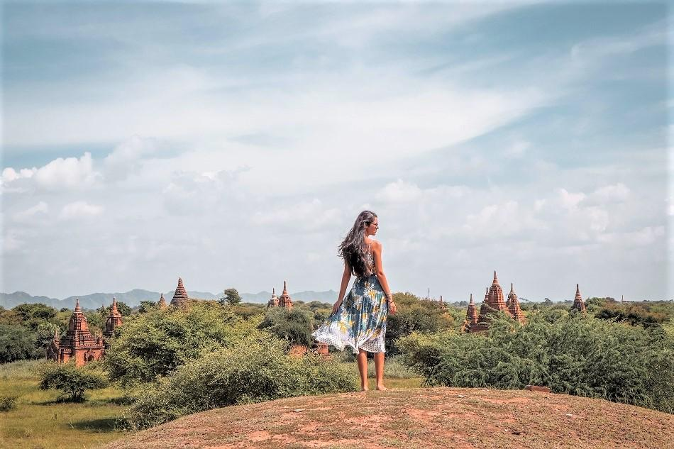 Climbing temples in Bagan - man made hill