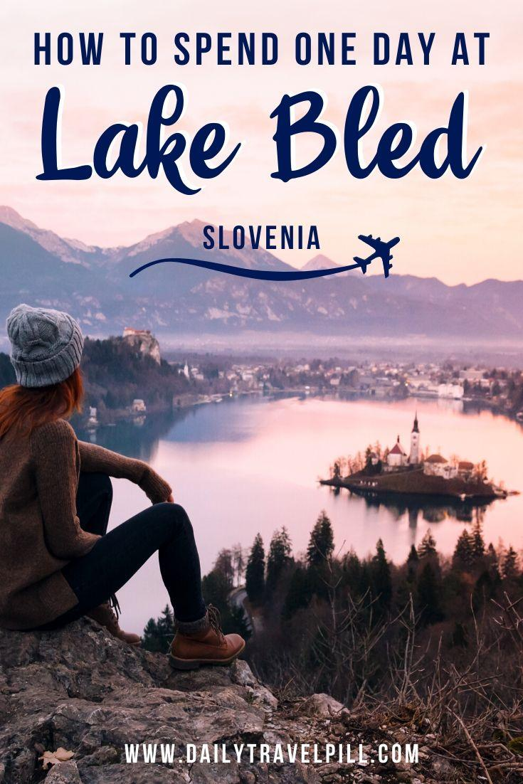 Girl watching the sunset at Lake Bled