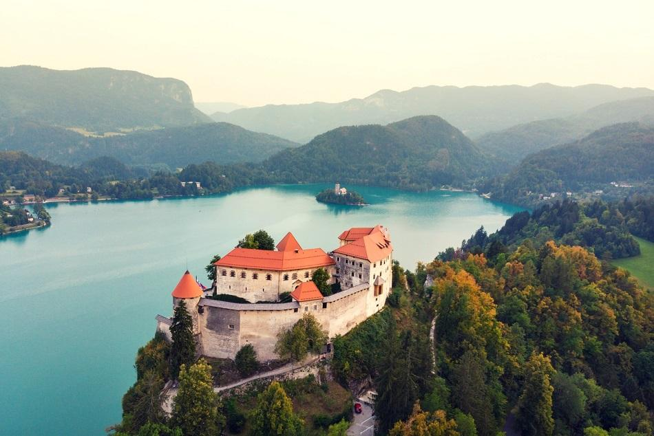 Aerial view over Castle Bled