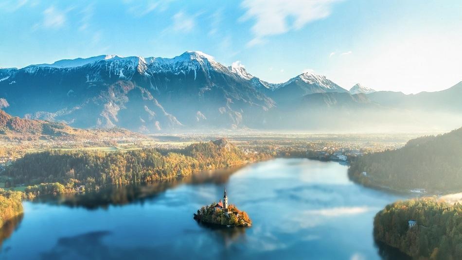 Lake Bled drone shot
