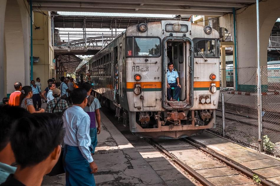 Yangon Circular Train arriving at the central station