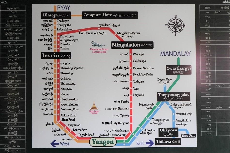 Yangon Circular Train route map