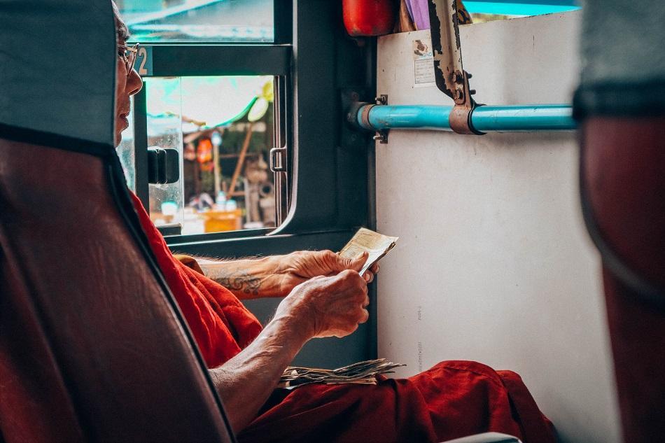 monk inside a bus