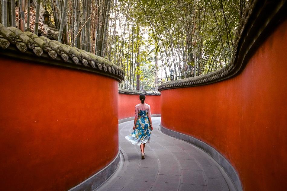 Wuhou Shrine red walls Chengdu
