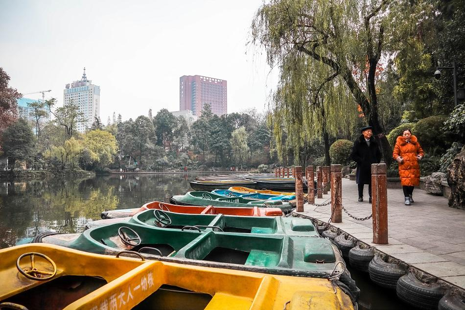 People's Park Chengdu colorful boats