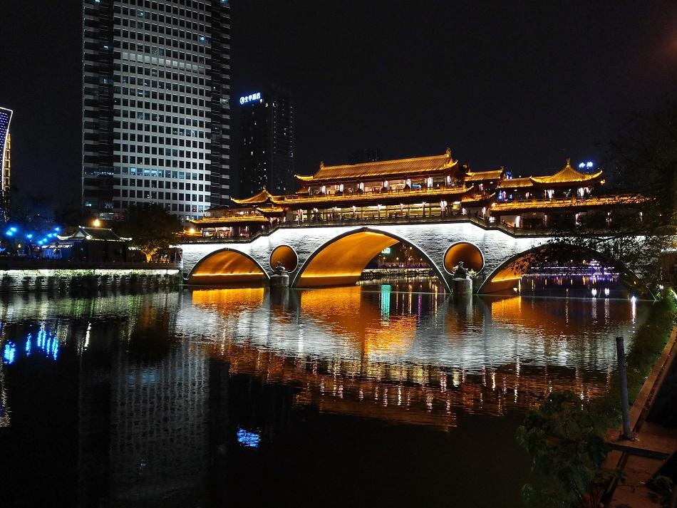 Anshun Lang Bridge at night, Chengdu