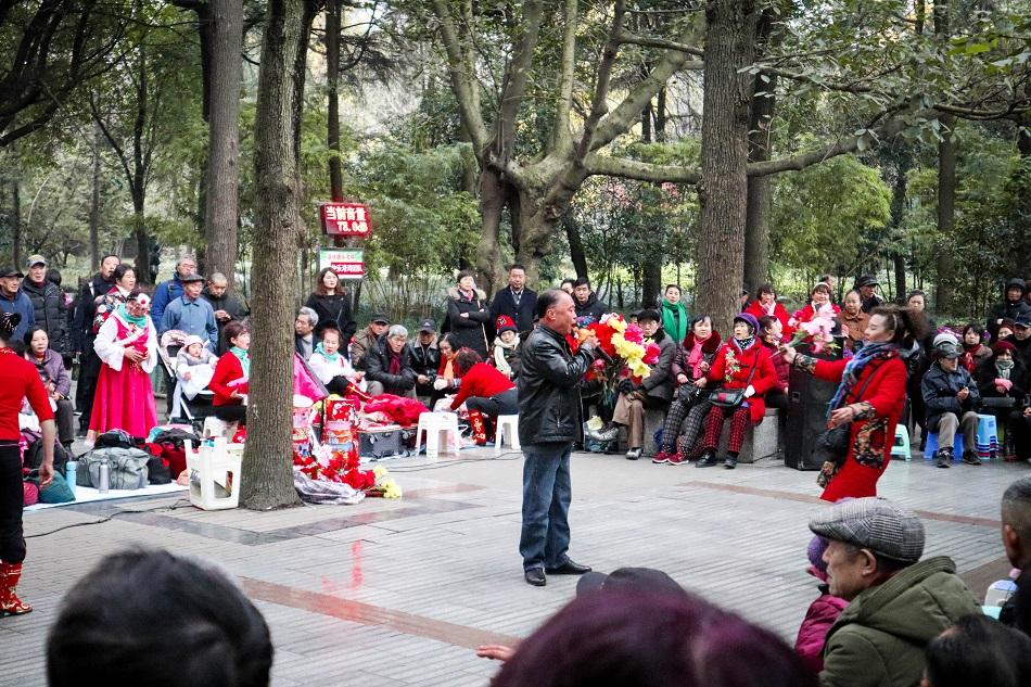 People's Park Chengdu singing performance