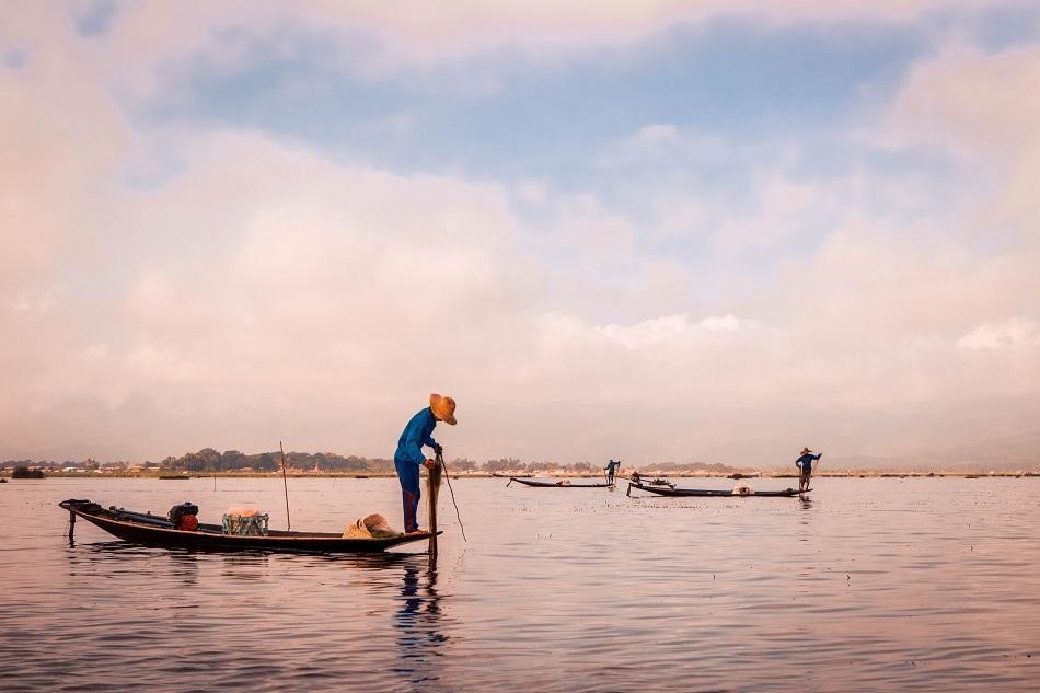 Inle Lake traditional fishermen