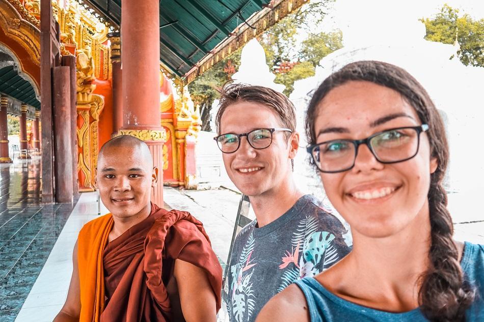 Buddhist monk at Kuthodaw Pagoda, Mandalay