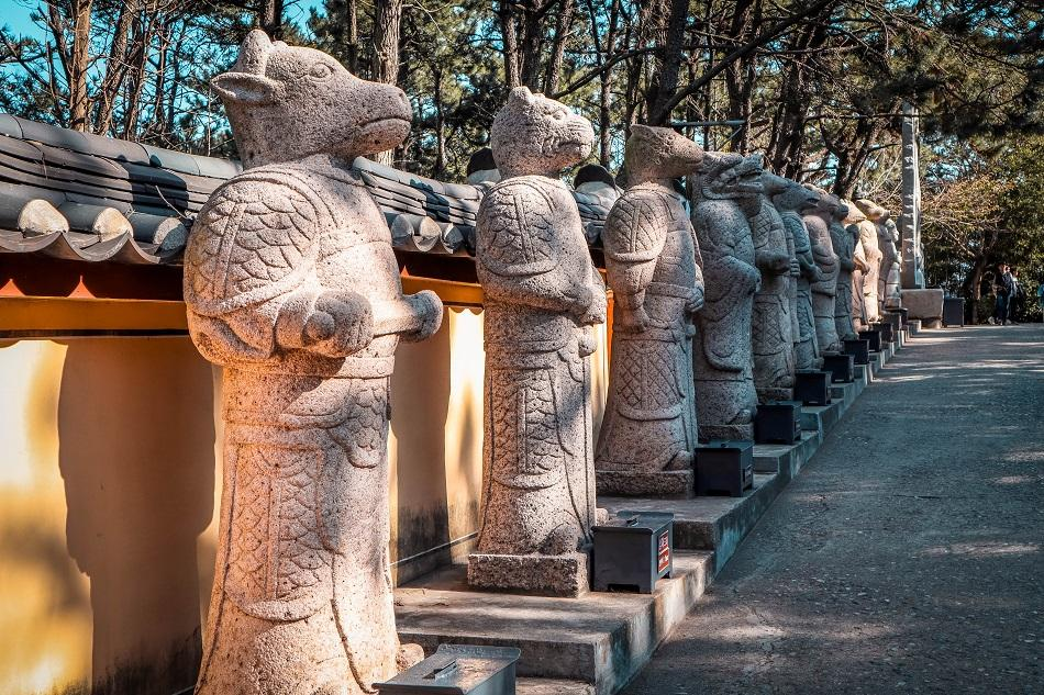 Zodiac statues at Haedong Yonggungsa Temple, Busan