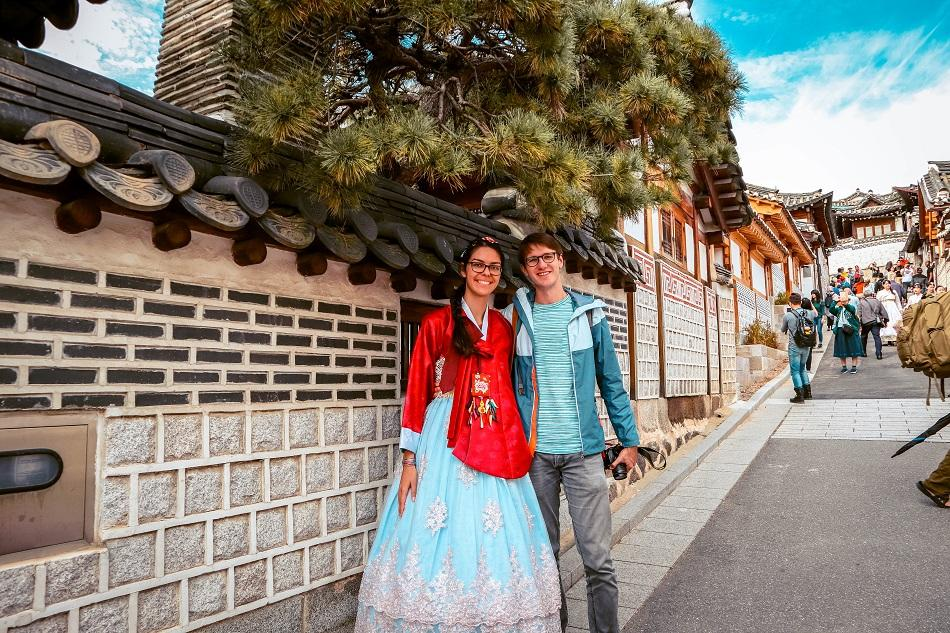Couple at Bukchon Hanok Village