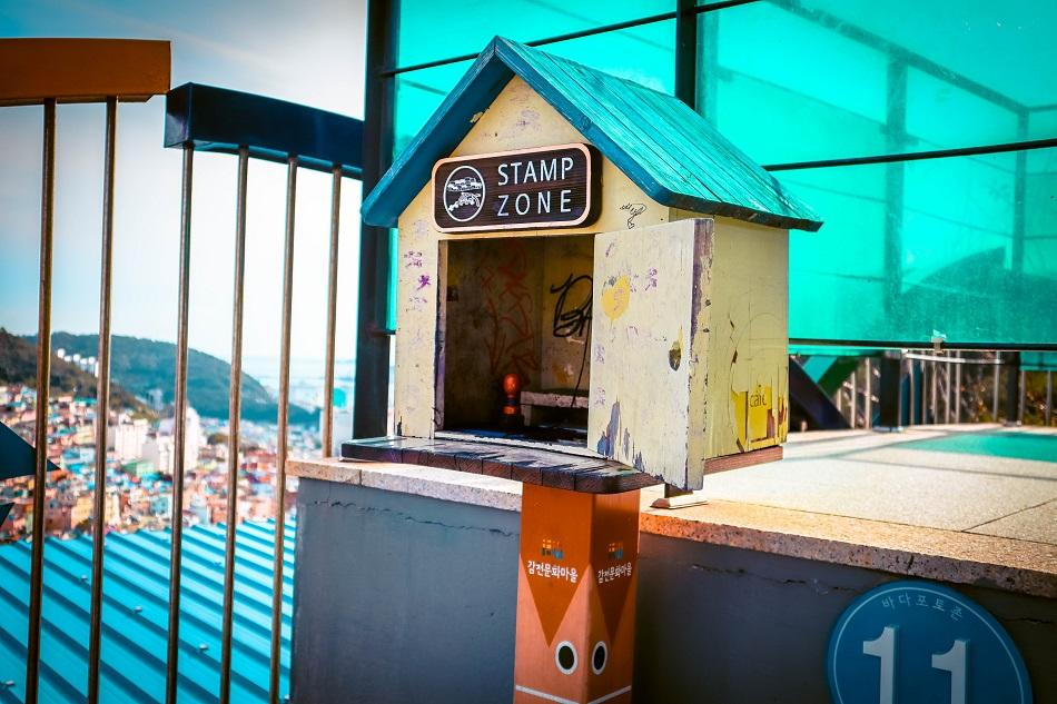 Collecting stamps at Gamcheon Culture Village, Busan