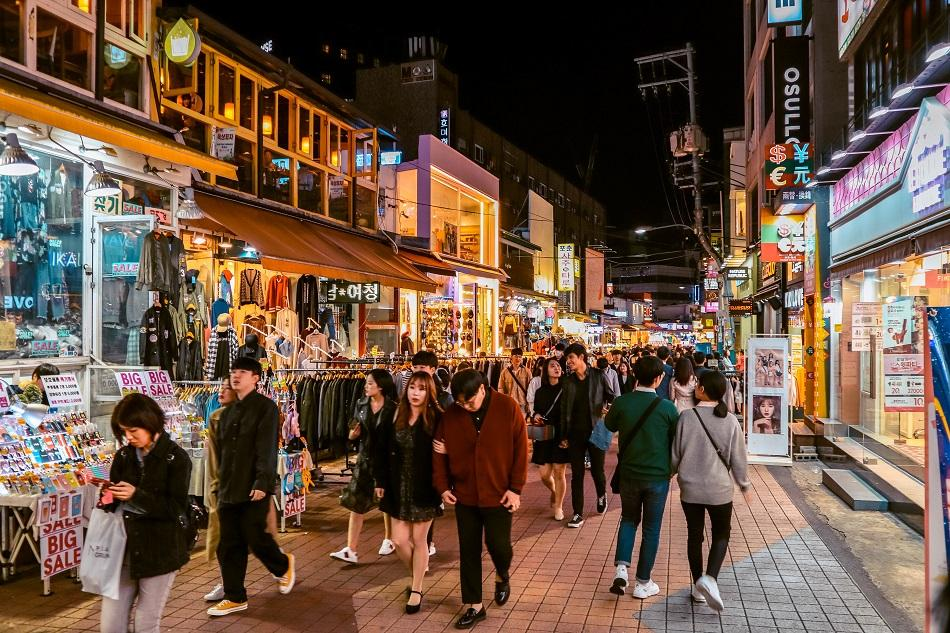 Main street in Hongdae, Seoul