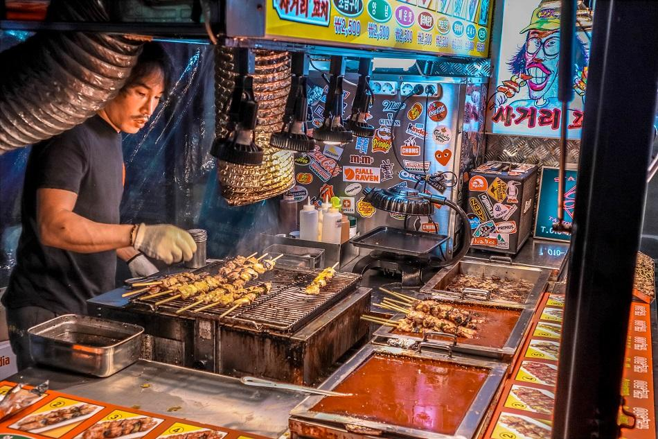 Street food in Hongdae, Seoul