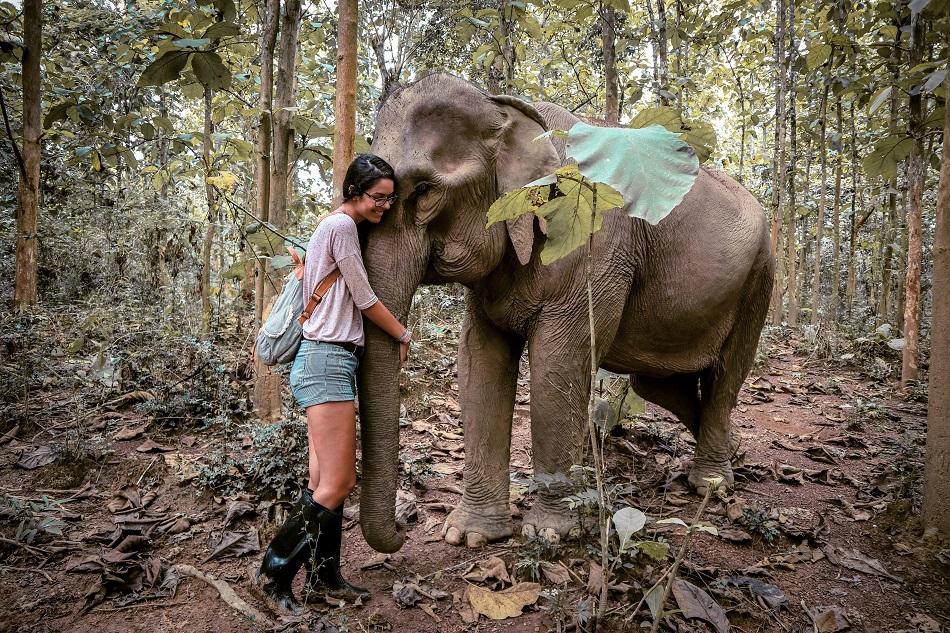 Hugging elephants at Mandalao Elephant Sanctuary, Luang Prabang, Laos