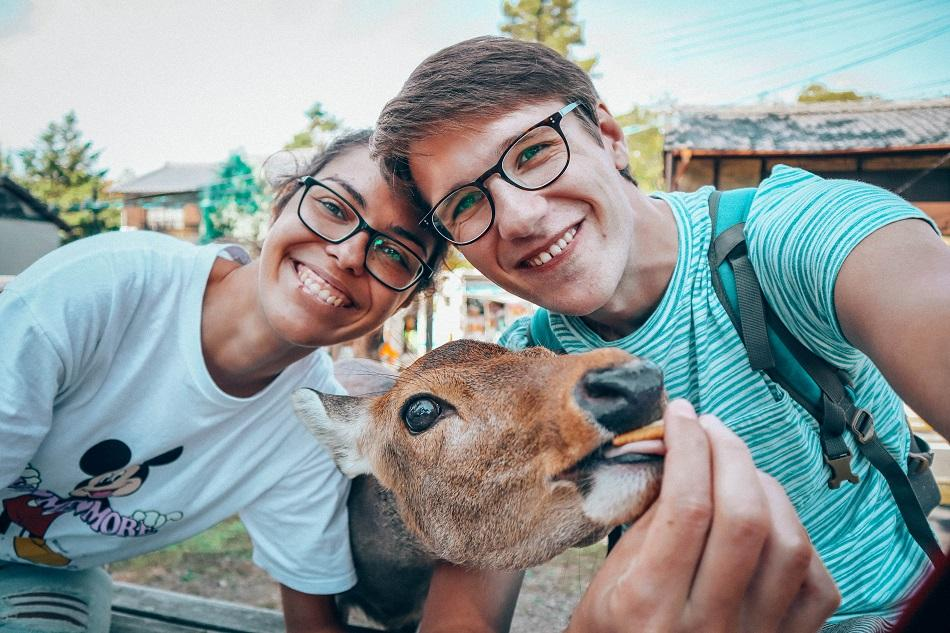 Selfie with a deer in Nara, Japan