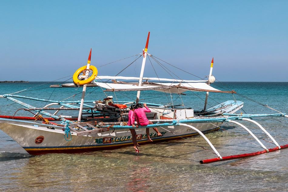 Local boat at Nagtabon Beach in Puerto Princesa, Palawan