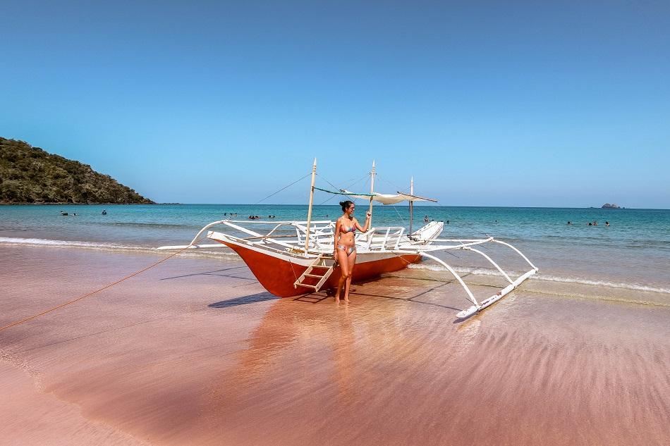 Boat at Nagtabon Beach in Puerto Princesa, Palawan