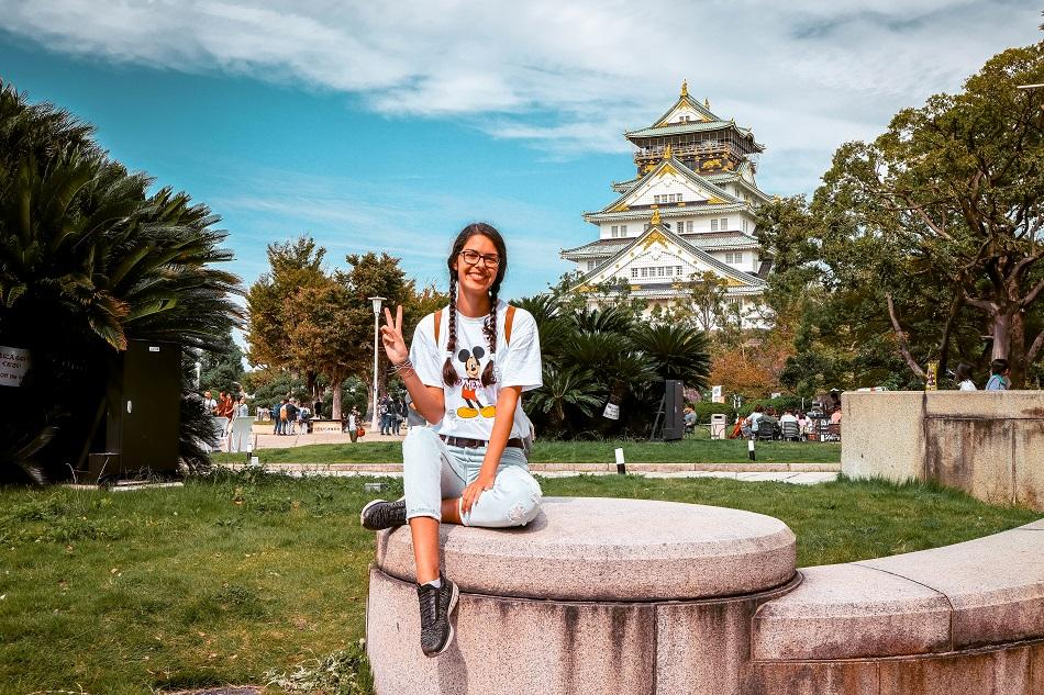 Girl in front of the Osaka Castle