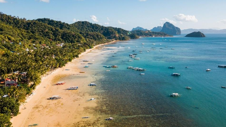 Corong Corong Beach in El Nido aerial view