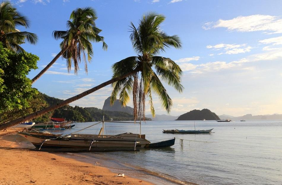 Corong Corong Beach in El Nido palm trees