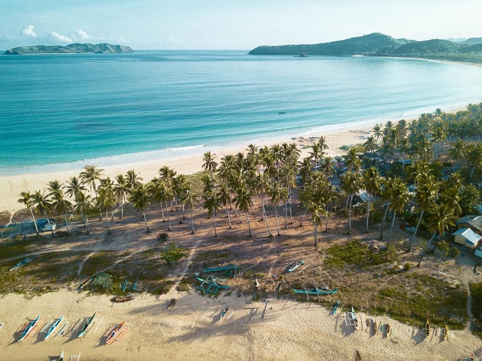 Twin Beach El Nido drone view