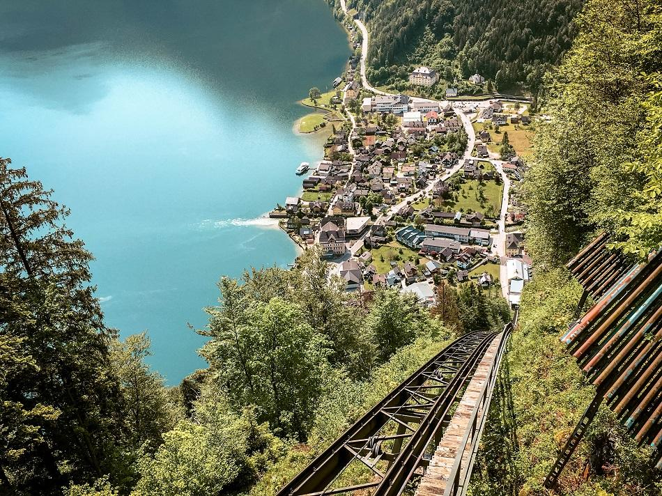 View from the Hallstatt funicular train