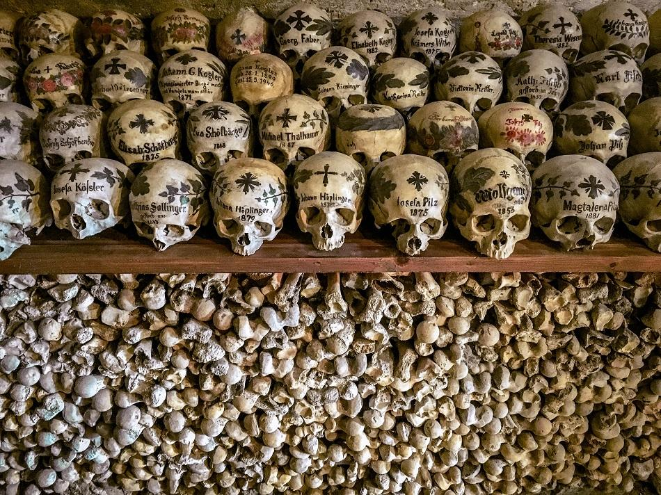 Skulls and bones at Hallstatt Ossuary