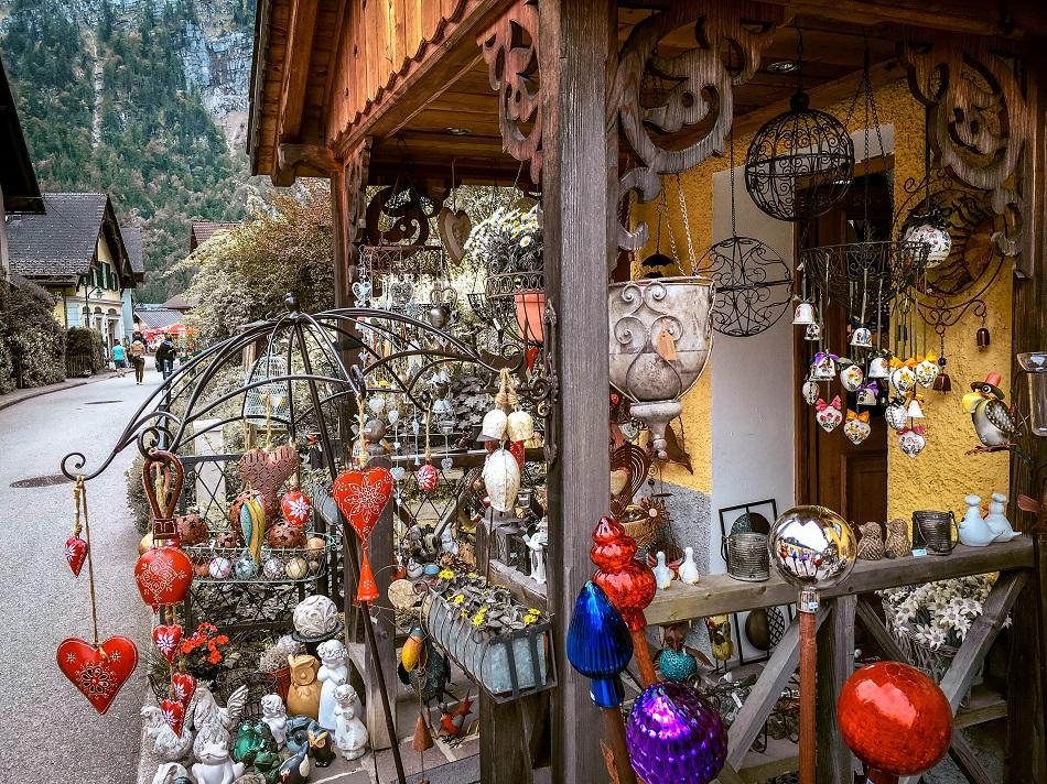 Hallstatt local shops with souvenirs