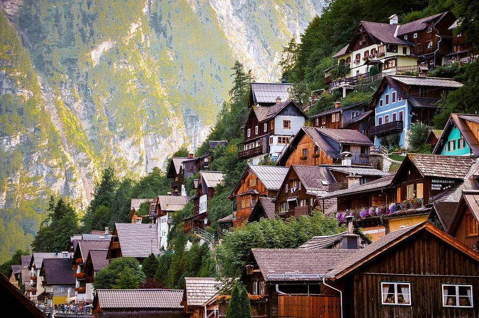 Hallstatt wooden house view