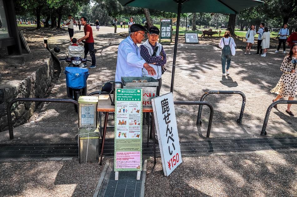 Local shop selling crackers at Nara Park, Japan