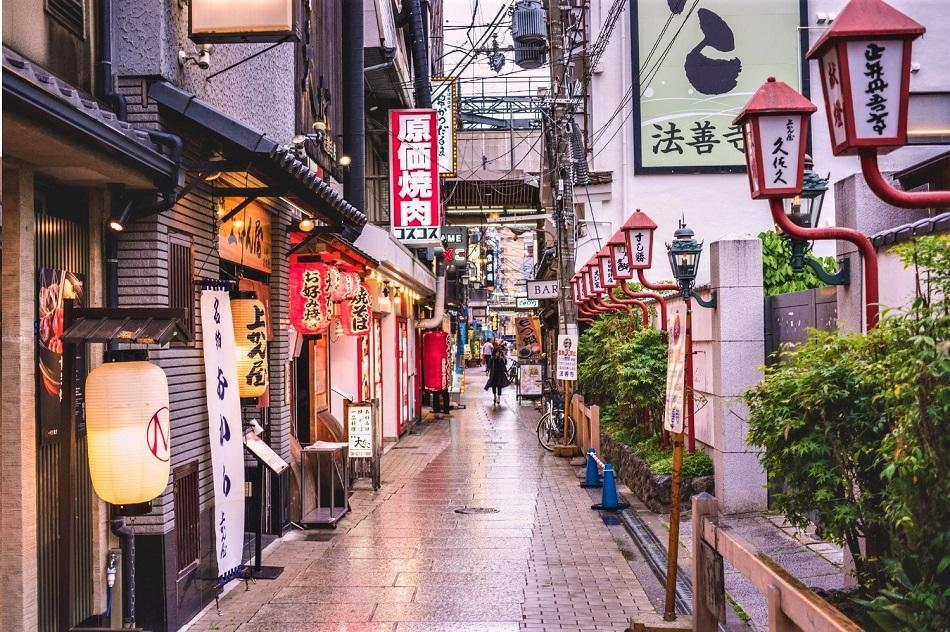 Osaka tiny street sunset